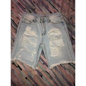 Pants - Distressed Bermuda Denim Shorts- Size S